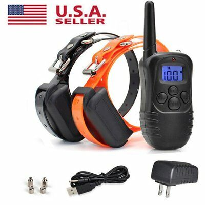 2 in 1 Waterproof Rechargeable Remote LCD Electric Dog Training Shock Collar NEW
