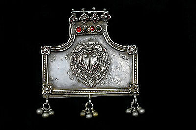 Antique Indian Amulet, Folk Style Hindu God Silver Pendant. G10-27
