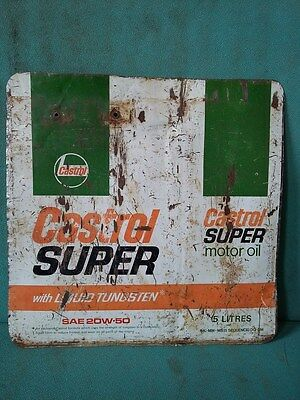 Vintage Old Castrol Super Motor Oil Ad. Litho Tin Sign Board collectible #115