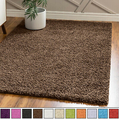 EXTRA LARGE SMALL THICK MODERN 5cm HIGH PILE PLAIN SOFT NON-SHED SHAGGY RUGS new