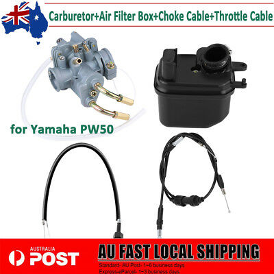 Carb Carburetor Air Filter Box Choke Throttle Cable Set For Yamaha PW50 Replace