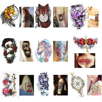 Mode Femme Tattoo Tatouage Temporaire Etanche Autocollant Sticker DIY Body Art