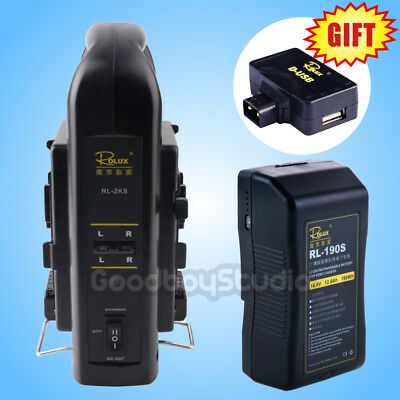 Rolux RL-190S 190Wh Sony V-mount Li-ion Battery + RL-2KS Dual Socket Charger Kit