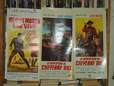 CLINT WALKER/CHEYENNE BILL+MORE DEAD THAN ALIVE/U5F/ 3 italian locandina posters