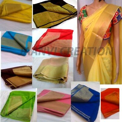 indian designer bollywood plain 6m cut Georgette fabric fr saree sari craft dres
