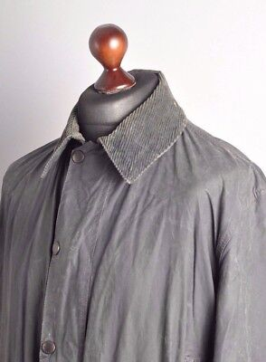 Men's BARBOUR Border Waxed Cotton Coat Jacket Blue Size C 40 102cm