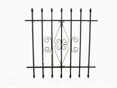 Spear Point Window Security 5-Bar Guard White Vertical Steel Decor 24 x 36 in