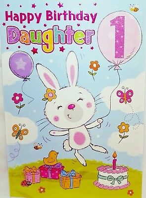 DAUGHTER 1st BIRTHDAY CARD AGE 1 BRIGHT FUN DESIGN QUALITY NICE VERSE