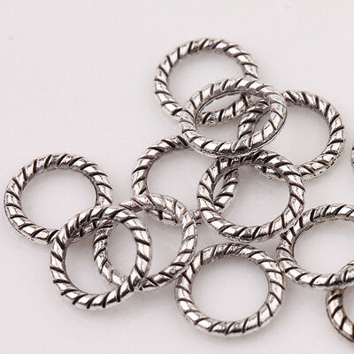 100Pcs/Set Antique Tibetan Silver Circle Spacer Bead Rings Jewelry Findings 8MM