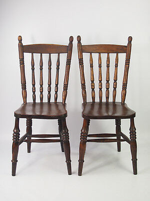 Pair Antique Victorian Kitchen Chairs - Farmhouse Ibex Windsor Hall Dining Chair
