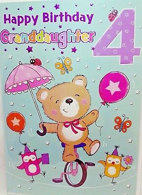 GRANDDAUGHTER 4th BIRTHDAY CARD AGE 4 BRIGHT FUN DESIGN QUALITY NICE VERSE