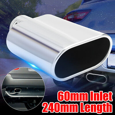 60mm Universal Car Chrome Stainless Steel Exhaust Straight Tail Pipe Tip 240mm