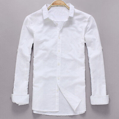 Indian 100% Cotton Man Shirt Kurta Top Tunic Handmade White Solid Color S 7XL