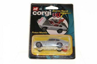Corgi Juniors #40 - James Bonds Aston Martin - Silver (Blue Card) - A+/B