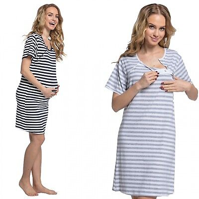 Happy Mama. Womens Maternity Hospital Gown Nightie Stripes Labour and Birth.078p