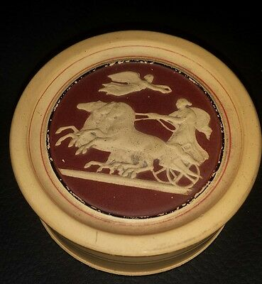 RARE Antique P. Ipsen Kjobenhavn Eneret Trinket Box, Terra Cotta, Horse & Angels