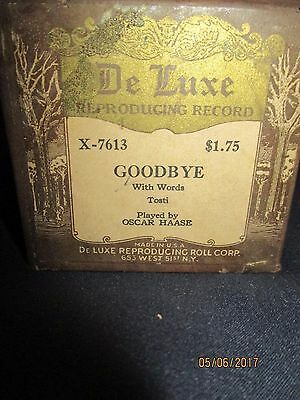 De Luxe Reproduction Recording Player Piano roll Goodbye w/ words Oscar Haase