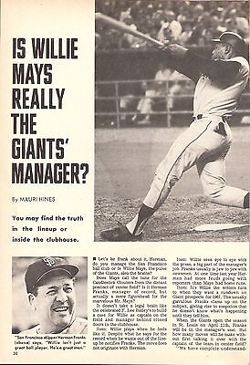 Early 1967 Sport World  Willie Mays San Francisco Giants Complete 4-Page Article