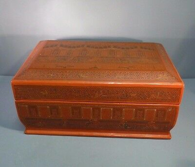 Finest Burmese Orange Lacquer Large Casket Box & Tray - Inscribed Design Rare