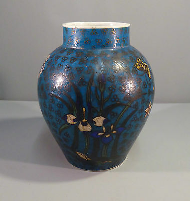 Japanese Antique Jiki Shippo Totai Porcelain Cloisonne Vase 19th century Meiji