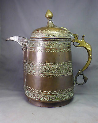 Antique Indian Inscribed Copper Ewer Coffee Pot Indo-Persian Dallah