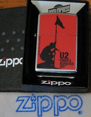 ZIPPO  MUSIC EXPRESS  Lighter U2 Under A BLOOD RED SKY  New Old Stock