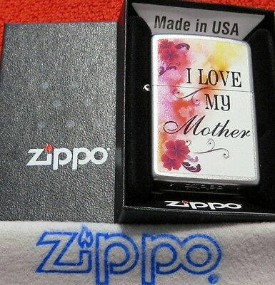 ZIPPO  I LOVE MY MOTHER Lighter FLORAL DESIGN Mint In Box NEW 2017