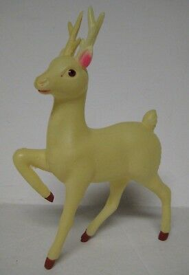 "Vintage REINDEER Celluloid JAPAN White Deer Christmas 6.5"" Soft Plastic Figure 2"