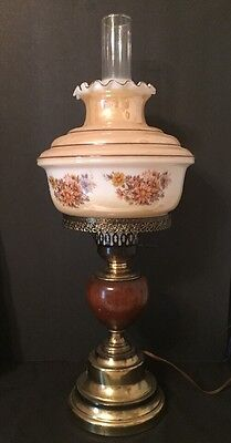 Antique Brass / Wood Base 3way Lamp. Includes Shade And Chimney.