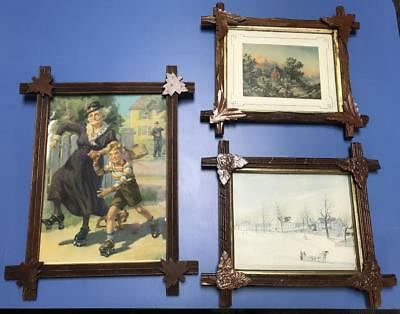 Victorian Antique Lot of 3 Fine Art Reproductions Handcrafted Wood Frames