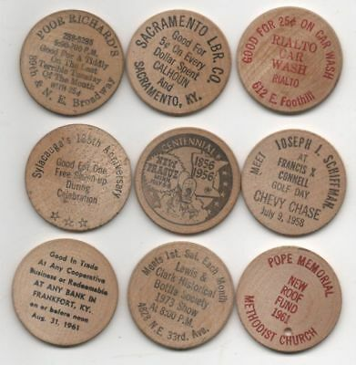 Lot of 9 Vintage Wooden Nickels MISCELLANEOUS ADVERTISING Circa 1956/1960s, 1973