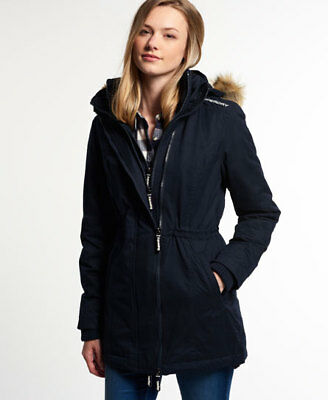Superdry Mujer Parka Microfibre Tall Windparka Navy