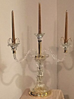 Candelabra 3 Candle Glass Crystals Bobeches Twisted Branches Gold Tone Accents