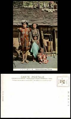 Taiwan Formosa China Old Postcard Savages Native House Family Man Woman Children