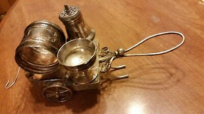 Vintage Simpson Hall Miller Salt & Pepper Cart  Silverplate Figural Napkin Ring
