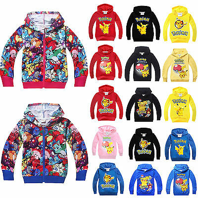Kids Girls Boys Pikachu Hoodie Casual Sweater Sweatshirt Pokemon Pullover Hooded