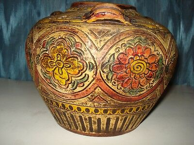 Antique Majolica Persian Style Pottery Vase, Vessel Beautiful Floral Pattern
