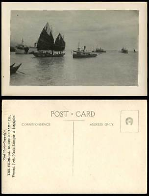 Singapore Old Postcard Harbour Sailing Vessel Boats Ship Federal Rubber Stamp Co