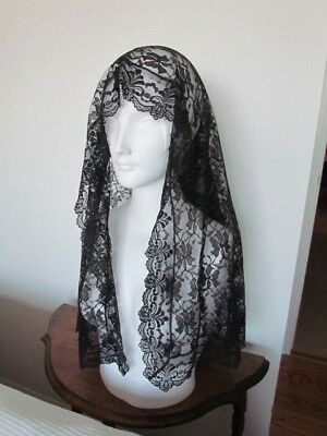 Black Floral Lace Mantilla Antique Vintage Church Scarf Wrap Mourning Veil rare