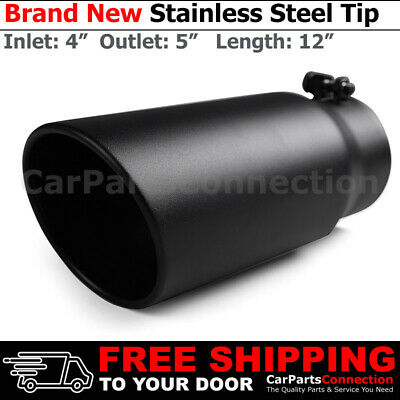 Angled Black 18 inch 5 Inlet 7 Outlet Stainless Truck 203219 Bolt On Exhaust Tip