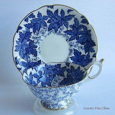 Coalport 4891/A  Blue Leaves on White Wide Mouth Bone China Tea Cup and Saucer