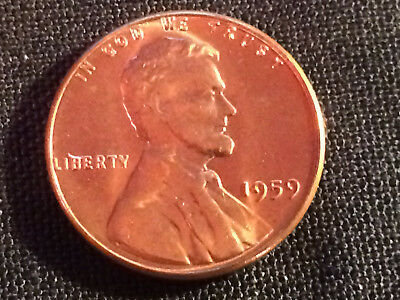 1959 - P No Mintmark U.S. Lincoln Cent (BU) with original copper-red mint luster