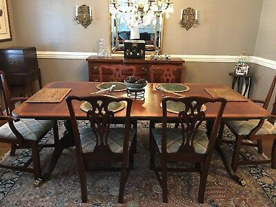 mahogany dining room table chairs set