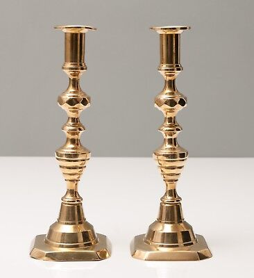 Pair Antique Victorian Beehive Brass Candlesticks Faceted Knops c1980