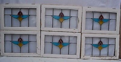 6 British leaded light stained glass windows. R594. MULTIPLE DELIVERY OPTIONS!