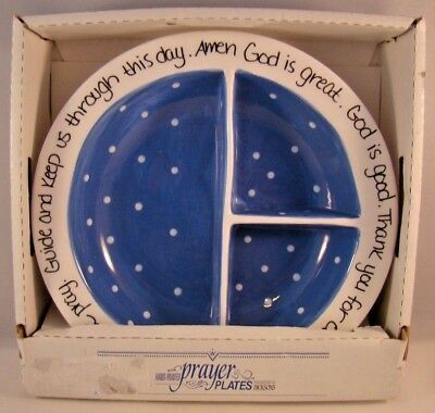 Dicksons Prayer Plate Blue Baby Childs Divided God Is Good God Is Great Ceramic