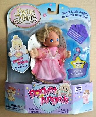 Precious Moments Pocket Angels doll Lonesome Angel pink dress purple comb NIP