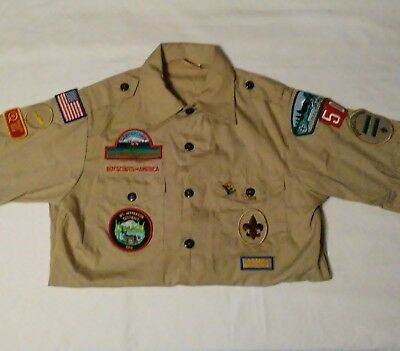 Official BSA Boy Scout Tan Uniform Short Sleeve Youth Sz LG 14/16  Badges Pins