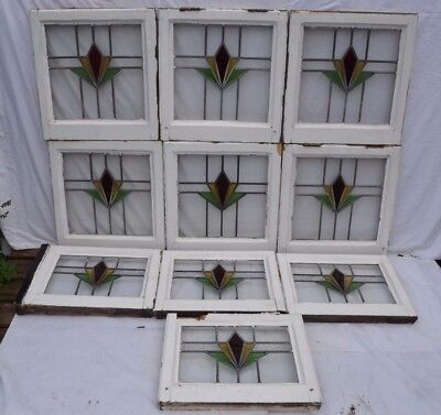 10 art deco leaded light stained glass windows. R673. WORLDWIDE DELIVERY!!!