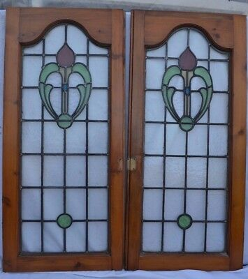 2 British leaded light stained glass windows. R632. WORLDWIDE DELIVERY!!!